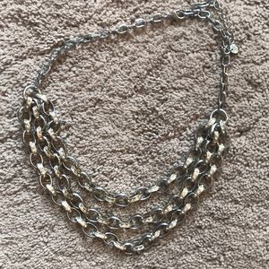 Silver and gold tiered short necklace
